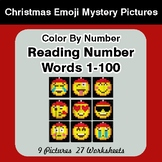 Christmas Emoji: Reading Number Words 1-100 - Color By Num