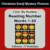 Christmas Emoji: Reading Number Words 1-20 - Color By Numb