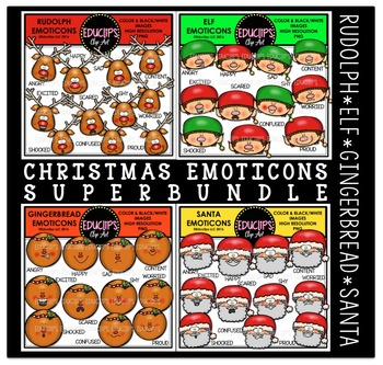 Christmas Emoticons Clip Art Super Bundle  {Educlips Clipart}
