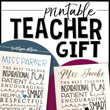 Christmas / End of Year TEACHER Printable Gift - Editable Names