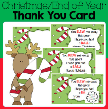 Christmas / End of Year Thank You Card - Gift Label
