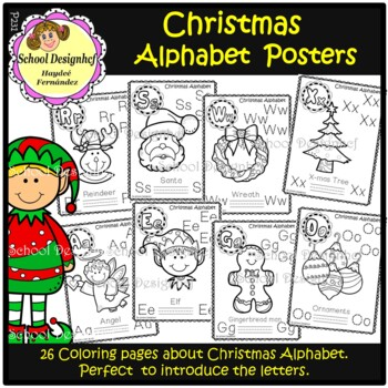 christmas english alphabet posters coloring pages school designhcf