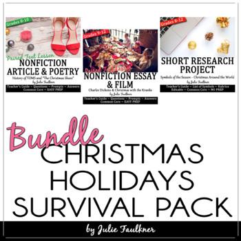 Christmas Holiday Activities, English Lessons for Teens, BUNDLE
