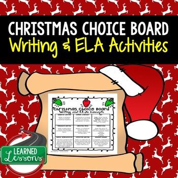 Christmas English Writing Choice Board