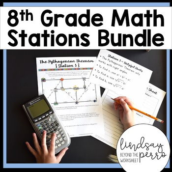 Middle School Math Stations Bundle for 8th Grade