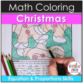 Christmas Equations & Proportions Coloring Pages