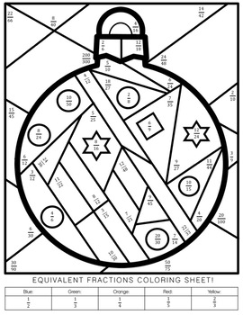 Answer & Color: Christmas & Equivalent Fractions by Amber The Educator
