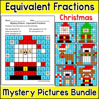 Christmas Math - Equivalent Fractions Color by Number Bundle