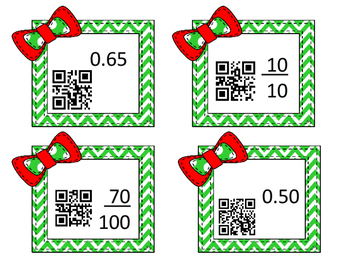 Christmas Equivalent fractions and decimals task cards