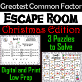 Christmas Escape Room Math: Greatest Common Factor Game 4th 5th 6th 7th Grade