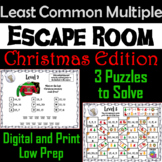 Christmas Escape Room Math: Least Common Multiple Game 4th 5th 6th 7th Grade