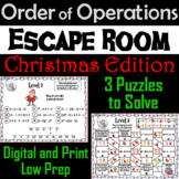 Christmas Escape Room Math: Order of Operations Game (4th 5th 6th 7th Grade)