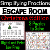 Christmas Escape Room Math: Simplifying Fractions Game; 4th 5th 6th 7th Grade