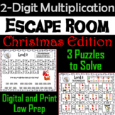 Christmas Escape Room Math: Two Digit Multiplication Game (3rd 4th 5th Grade)