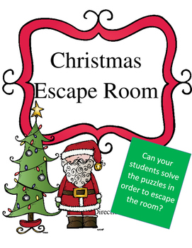 Christmas Escape Room Reading, Writing, Math Activity (Week Long Activity)