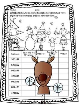 Christmas Estimating Products Worksheet