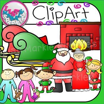 Christmas Eve Santa and Elves Collection Clip Art