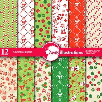 Digital Papers - Christmas Eve digital paper and backgrounds AMB-171