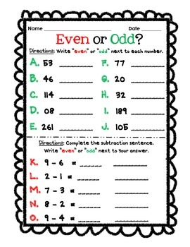 Christmas Even & Odd Numbers Assessment
