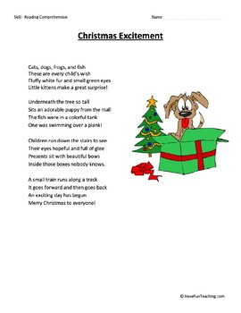 Christmas Excitement Reading Comprehension Worksheet