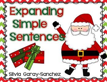 Christmas Expanding Simple Sentences Task Cards