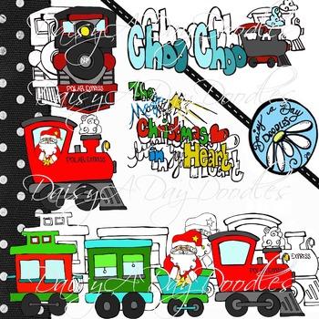 Christmas Express - Train set - Line art and Color images - Clip Art