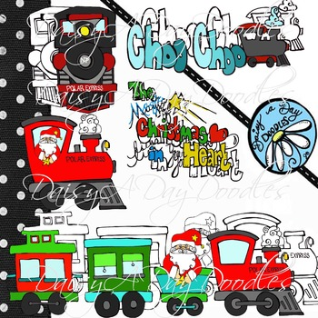 Christmas Express - Train set - Line art and Color images - Clip Art