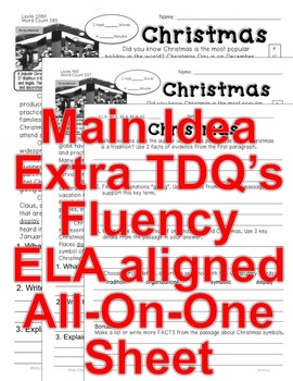 Christmas FACTS 5 level passages w/ TDQ's, Fluency, Main Idea All-ON-One Sheet
