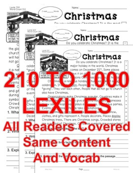 Christmas FACTS CLOSE READING 5 LEVELED PASSAGES Main Idea Fluency TDQs & More