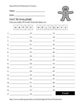 Christmas FREE - Happy Holidays - How Many Words Can You Make?