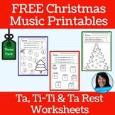 Christmas FREEBIE | Primary Music Printables | Reinforces Ta, Ti-Ti and Ta Rest