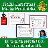 Christmas FREEBIE | Primary Music Theory Printables | Grades 2 and 3