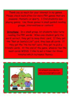Christmas FRY Words Game