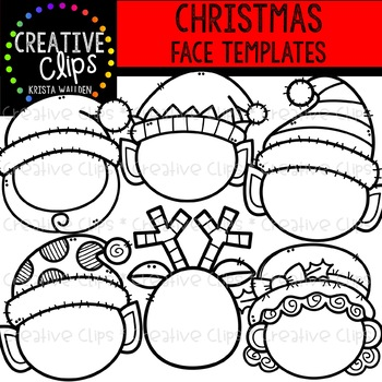 Christmas Face Templates {Creative Clips Clipart}