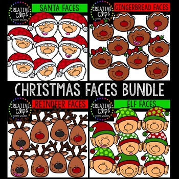 Christmas Faces Bundle {Creative Clips Clipart}