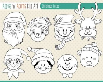 Christmas Faces Clip Art - color and outlines