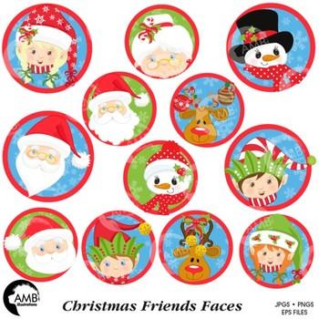 Christmas Faces Clipart, Christmas Bottle Caps, Buttons Clipart, AMB-1126