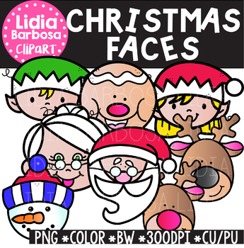Christmas Faces Clipart {Lidia Barbosa Clipart}