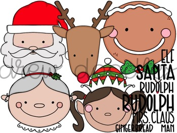 Christmas Faces and Words Digital Clip Art Set