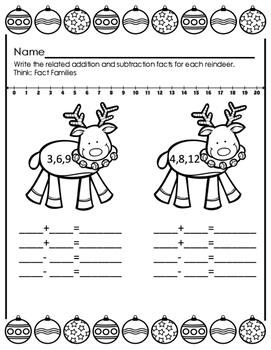 Christmas Fact Family Fun; Ten Frames, Rekenrek and Number Lines