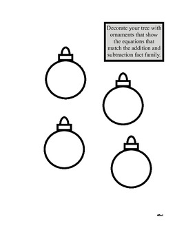 Christmas Fact Family Trees Addition and Subtraction