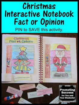 Fact and Opinion Sort, Christmas Activities, Reading Interactive Notebook Craft