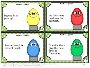 Fact and Opinion Task Cards for Christmas Literacy Centers Games & Activities