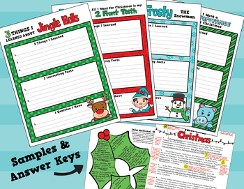 Christmas Activities / Christmas Writing CCSS Aligned  4th - 6th Grade