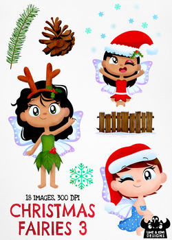 Christmas Fairies 3 Clipart | Instant Download Vector Art | Commercial Use
