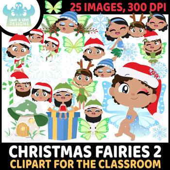 Christmas Fairies 5 Clipart   Instant Download Vector Art   Commercial Use