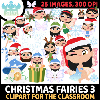 Christmas Fairies 6 Clipart | Instant Download Vector Art | Commercial Use