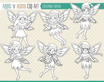 Christmas Fairies Clip Art - color and outlines