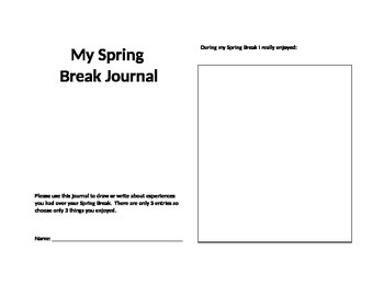 Christmas, Fall, Spring Break Journal