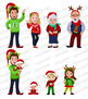 Christmas Family Clipart, Christmas Clip Art, Commercial use, digital images